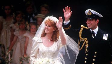 Sarah Ferguson marrying Prince Andrew in 1986.