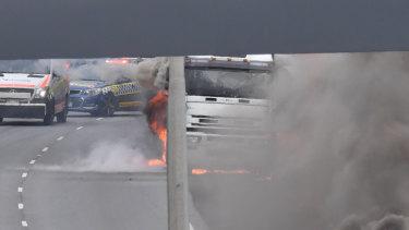 The burning truck.