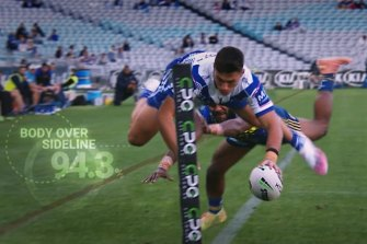 Jake Averillo scores a spectacular try for Canterbury.