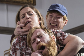 Liz Fitzgibbon, Brian Gleeson and Domhnall Gleeson in the boisterous comedy Frank of Ireland.