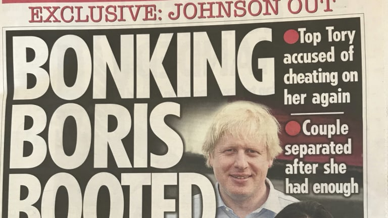 The front page of The Sun revealed that former foreign secretary Boris Johnson had separated from his wife of 25 years