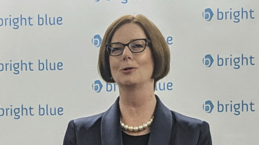 Former PM Julia Gillard, Chair of the Global Partnership for Education alongside the UK International Development Secretary Alok Sharma, for discussion on aid hosted by think tank Bright Blue in Manchester, England.