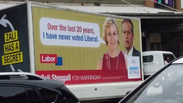 The Advance Australia billboard being trucked through Mosman.