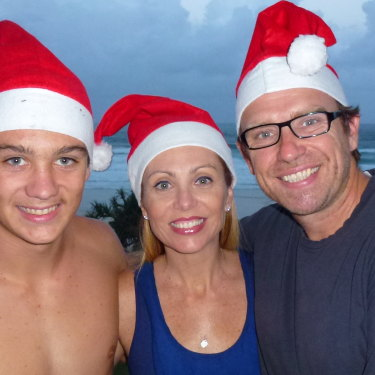 Jordan Hayes-McGuinness with his parents, Melissa and Peter, on Christmas Eve in 2011. Jordan was dead less than a year later.