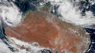 Twin tropical cyclones, Veronica in the west and Trevor in the east, will pose risks for wind damage, flooding and storm surges in coming days.
