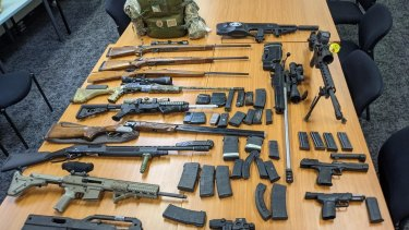 Firearms seized during the police operation.