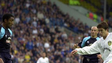 Harry Kewell sores his first goal for Leeds against Derby County in 2001.