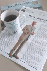 Good Weekend and a cup of tea – in a Dilmah mug to complement Merrill J. Fernando in Dicey Topics!