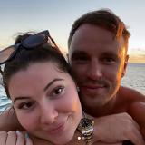 Loved up: Francesca Packer Barham and Adam Cooper on Hamilton Island last month.