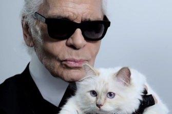 German fashion designer Karl Lagerfeld with his beloved Choupette.