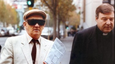 George Pell walks to court with fellow St Patrick's alumni, former housemate and paedophile priest Gerald Ridsdale when he faced child abuse charges in Warrnambool in 1993.