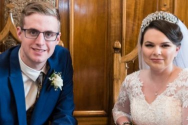 Lisa Sandford and Justin Beulah on their wedding day in February 2019. The couple say they have left the white supremacy movement and urge others to do the same.