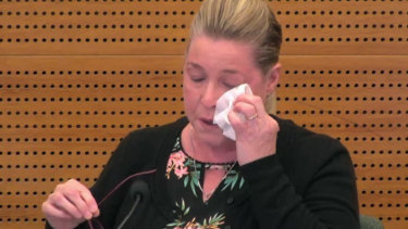 Jacqueline McDowall giving evidence on Thursday at the banking royal commission.