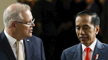 Jokowi, pictured with Scott Morrison, has shown a renewed enthusiasm for bilateral trade agreements, signing one with Australia in early 2020 after years of arduous negotiations.
