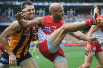 Action from the 2012 AFL Grand Final between Hawthorn and Sydney.