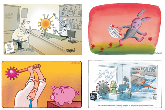 Like a crystal ball of doom, the novel coronavirus is turning out to be quite the motif in cartoon culture.