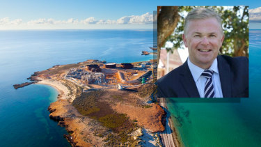 Santos CEO Kevin Gallagher (inset) visited Varanus Island on his trip.