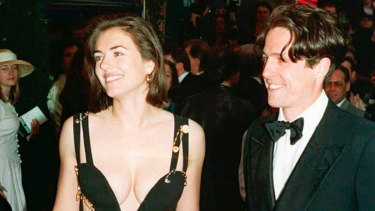 Hugh Grant and his then-girlfriend Elizabeth Hurley in May 1994 at the premiere of the film Four Wedding and a Funeral in London.