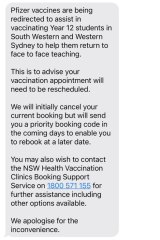 The text message from NSW Health.