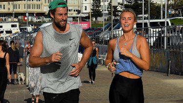 Ash Williams and Liv Phyland worked up a sweat as they pounded the pavement back to Bondi.