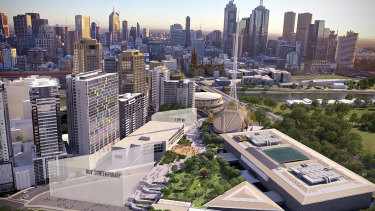 Artist's rendition of the proposed NGV Contemporary and development of the Southbank arts precinct.