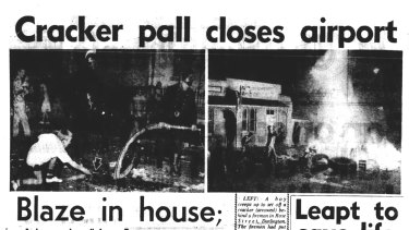 Headlines from The Sun-Herald of 24 May 1959, reporting on the cracker night chaos of the previous evening.
