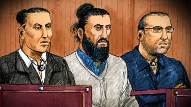 Ahmed Mohamed, Abdullah Chaarani and Hamza Abbas in court.