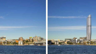 The existing view (left) and an artist's impression of the view with the proposed tower (right).