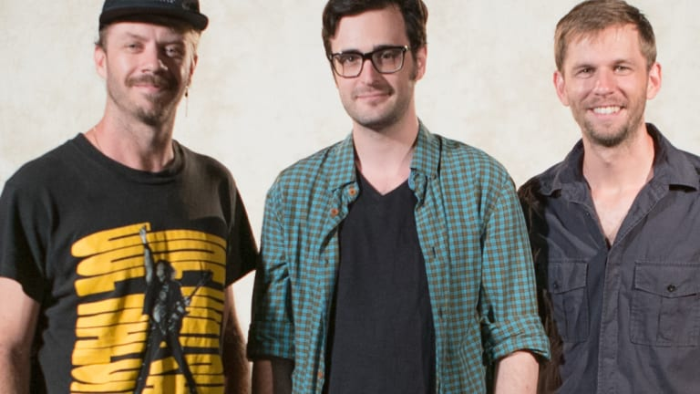 You Can't Ask That producers Kirk Docker, left, and Aaron Smith, right, with editor Nick McDougall.