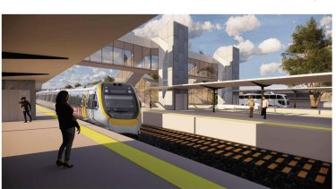 Artist's impression of the new Loganlea train station, which is to be shifted closer to the Logan Hospital.