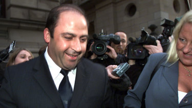 Nicola Gobbo with Tony Mokbel in 2002 after he was released on bail.