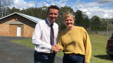 'Lets shake on it': Mayor Karen Williams and Federal MP Andrew Laming at the Birkdale site.