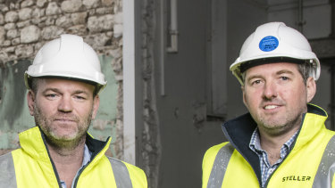Hotelier Julian Gerner and StellerCEOSimon Pitard on site at the Continental Hotel.