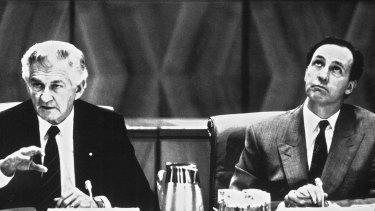 Bob Hawke and Paul Keating in 1991.