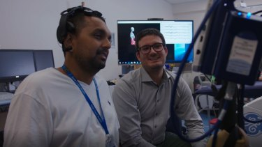 Griffith University researchers Dr Dinesh Palipana, left, and Dr Claudio Pizzolato, will progress to clinical trials of their BioSpine device.