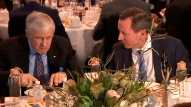 Billionaire Kerry Stokes and WA Premier Mark McGowan at a business breakfast on Tuesday morning.