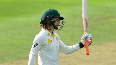 Rachael Haynes celebrates her half-century on day one.