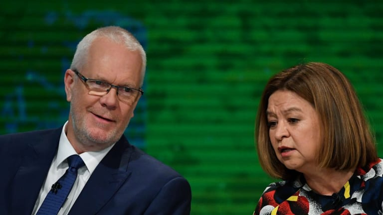 Former ABC chairman Justin Milne with former managing director Michelle Guthrie.
