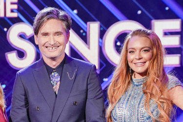 The Masked Singer's 'guessing panel': Jackie O, Dannii Minogue, Dave Hughes and Lindsay Lohan.