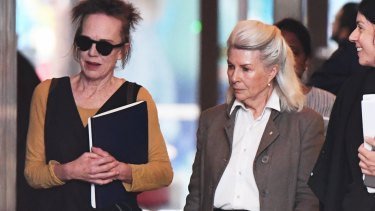 Actors Judy Davis and Robyn Nevin outside court on Monday.