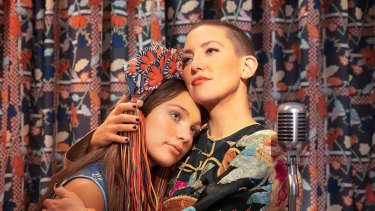 Maddie Ziegler and Kate Hudson in a scene from Music.