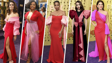 Clash couture ... (from left) Mandy Moore, Taraji P. Henson, Susan Kelechi Watson, Zoe Kazan and Marisa Tomei.