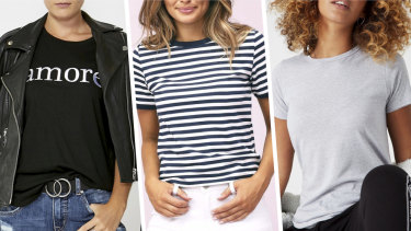 Can you spot the most ethical T-shirt? From left: Decjuba, Ally Fashion, Cotton On.