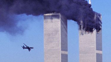 United Airlines Flight 175 moments before hitting the south tower of the World Trade Centre.