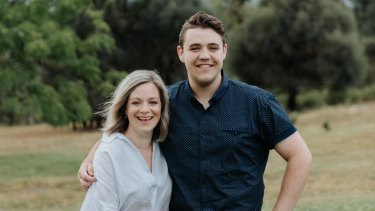 """He's really struggling"": Belinda Neame and her son Fletcher Bean, a second-year student at the University of Canberra."