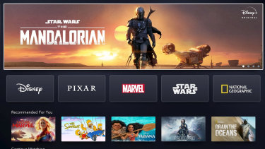 The Disney+ landing page.