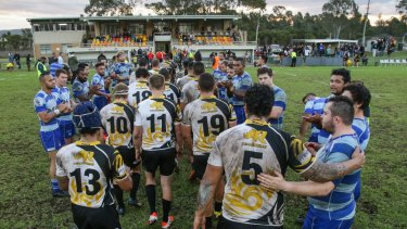 Better days: The Penrith Emus, pictured here after a Shute Shield match against Parramatta in 2015, were kicked out of the competition this season.
