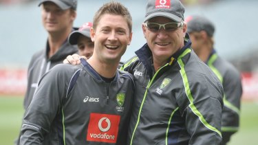 Dean Jones, right, with former Australian cricket captain Michael Clarke in 2012.