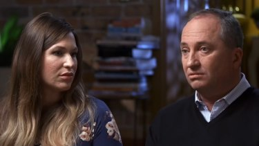 Barnaby Joyce and partner Vikki Campion on Channel 7's Sunday Night in June.