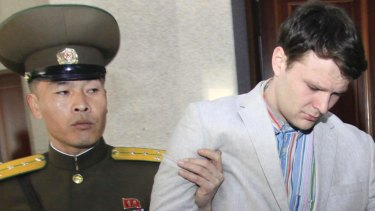 American student Otto Warmbier is escorted at the Supreme Court in Pyongyang, North Korea, in March 2016.